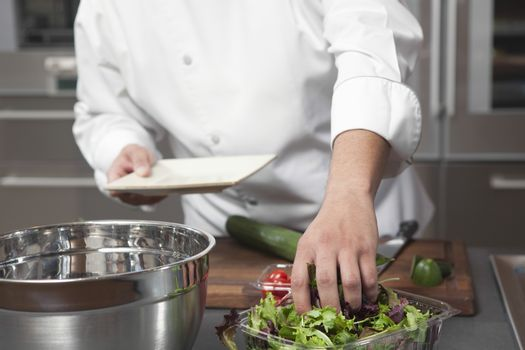 Midsection of male chef preparing salad in commercial kitchen
