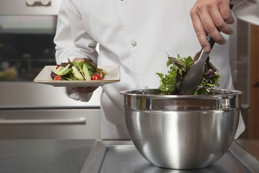 Male chef preparing leaf vegetables in commercial kitchen