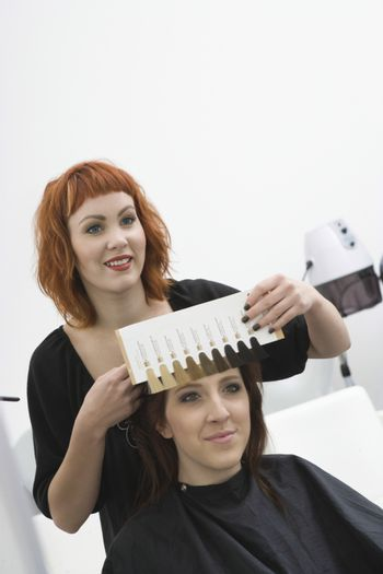 Colourist and client choose shades of colour