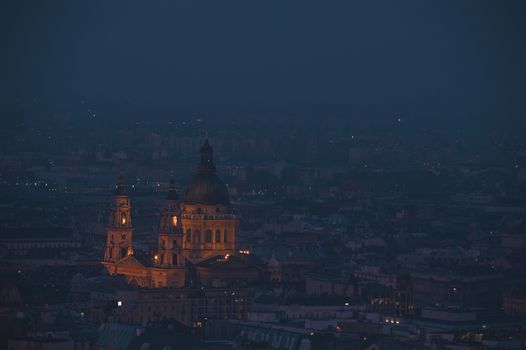 Dusk cityscape of the St Stephen's Basilica in Budapest  capital of Hungary