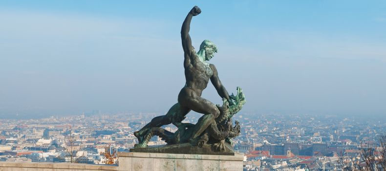Statue of St George the Dregon Killer on Gellert hill in Budapest  capital Hungary