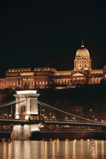 Night cityscape of the St Stephen's Basilica in Budapest  capital of Hungary