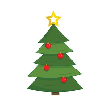 Vector illustration of a decorated christmas tree