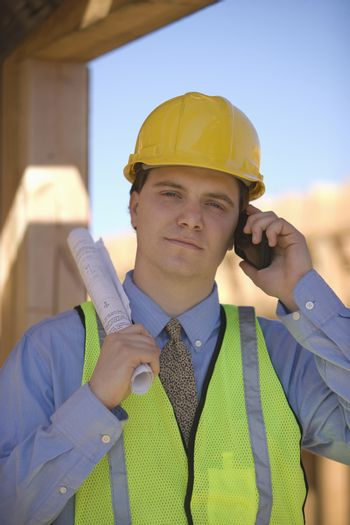 Site manager on mobile phone
