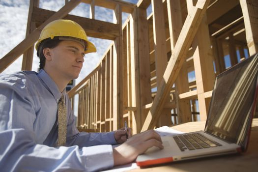 Site manager with laptop