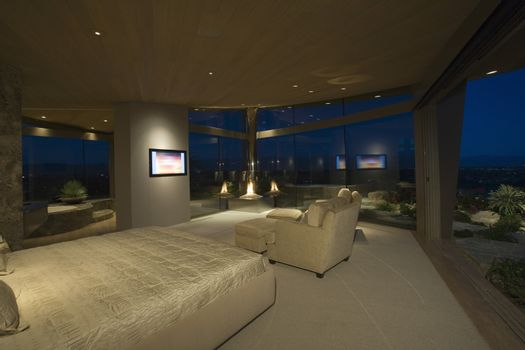 Bedroom interior with large windows