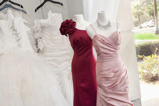 Wedding dress on display in bridal store