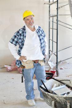 Portrait of a Caucasian male construction worker smiling