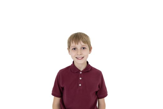 Cutout portrait of pre-teen boy over white background