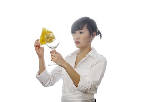 Asian house cleaner cleaning glass with backlit over white background