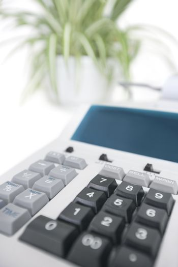 Close-up of calculator in office