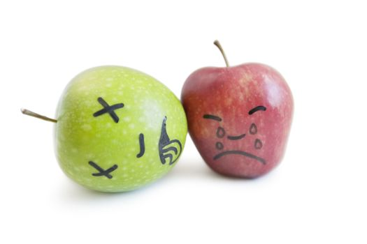 Red apple mourning over death