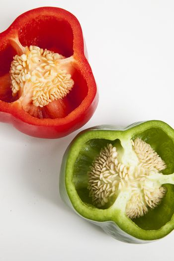 Close-up of cross section of bell peppers