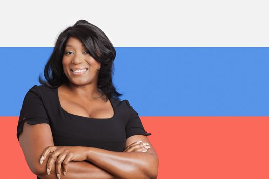 Portrait of casual mixed race woman over Russian flag