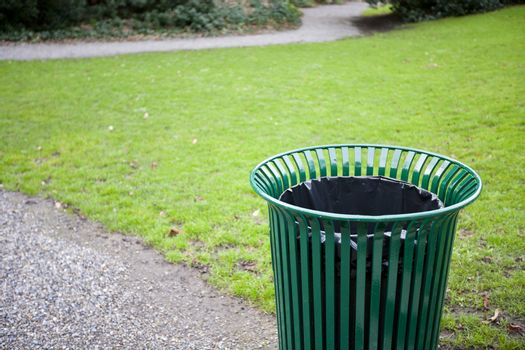 Trash can in a park