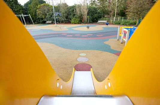View down a slide in a playground