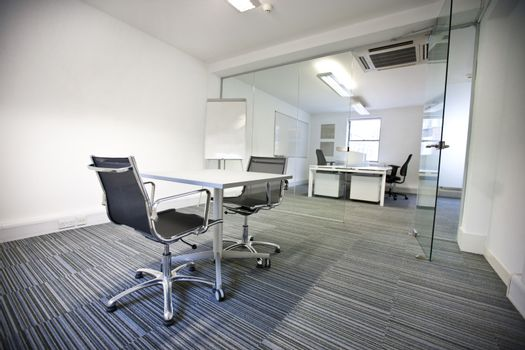 Wide view of office interior