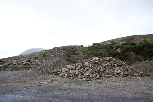 Piles of rocks in small quarry