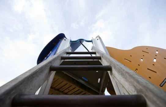 View up a ladder in a children's playground