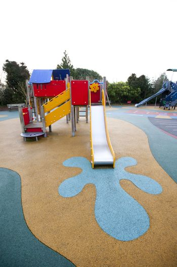Wide view of slide and painted splash at base