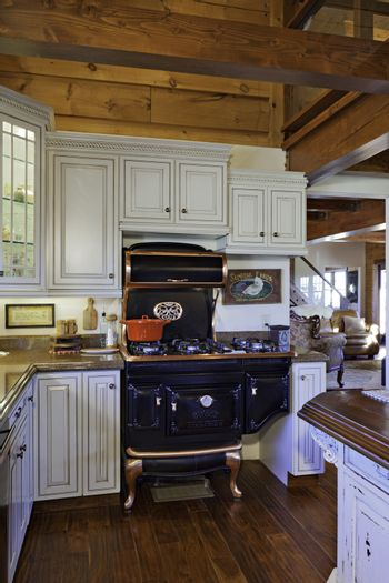 Traditional Kitchen with Cast iron Aga cooker