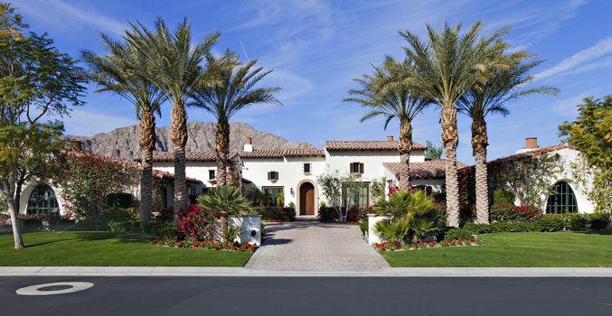 Front entrance façade of luxury villa