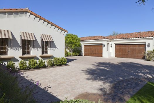 Driveway with twin double garage