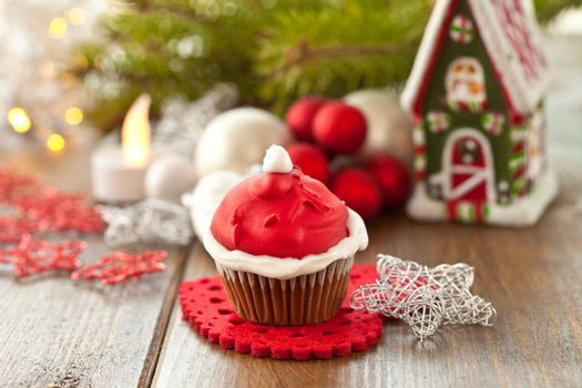 Little cupcake with Santa hat