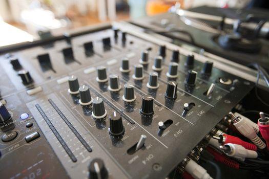 Close-up of DJ mixer