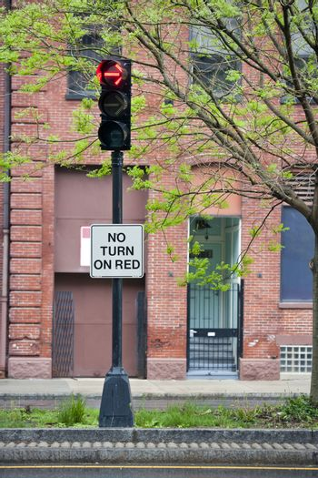 No turn on red sign on traffic lights