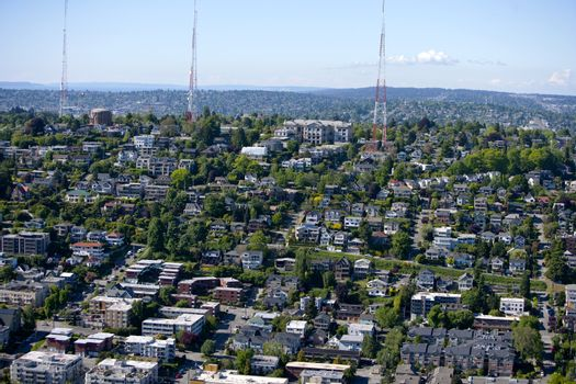 View of Seattle and radio towers from Space Needle
