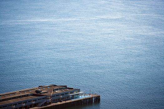 View from above of pier and water