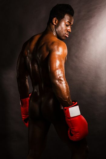 African boxer turning back
