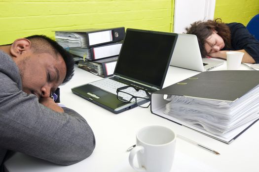 Colleagues asleep at their respective desk