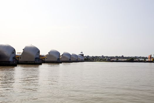 Side view of Thames Barrier at Sunrise