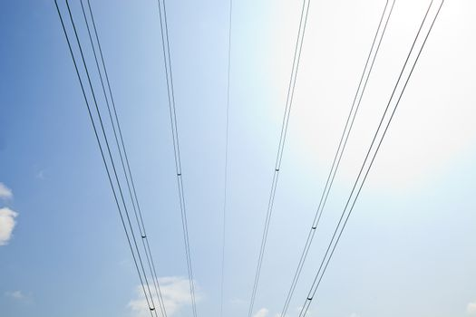 Electrical Power lines against clear Skype