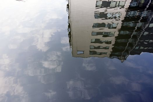 Reflecting houses in water