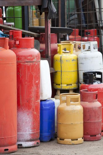 Close-up view of Gas canisters