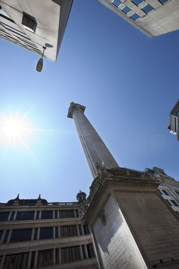 View from below of Monument, London, UK