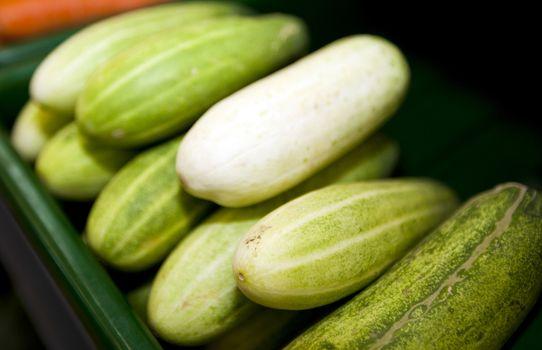 Close-up of fresh cucumbers in supermarket