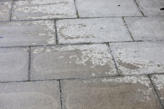 Concrete walkway with water patch