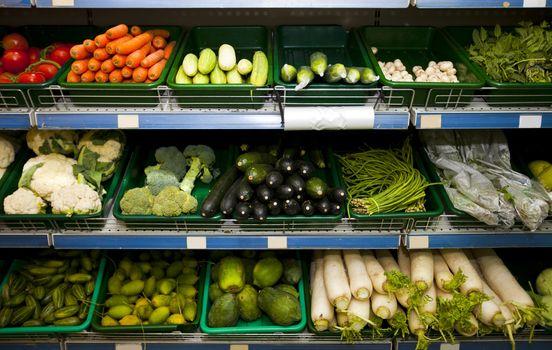 Various fresh vegetables in supermarket