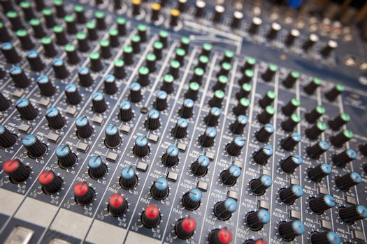 Close-up of sound mixing equipment in television station