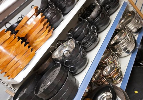 Kitchen utensils on display in store