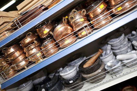 Kitchenwares on display in utensil store