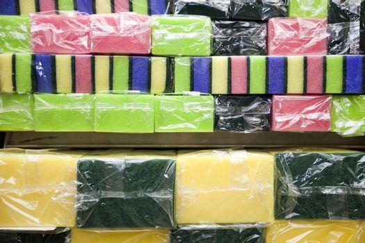 Multicolored sponges in grocery store