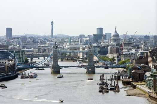 Elevated view of Tower Bridge and St Pauls, London