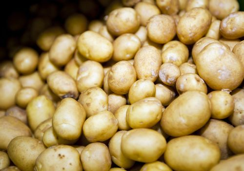 Close-up of potatoes in supermarket