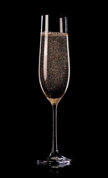 Champagne on black background