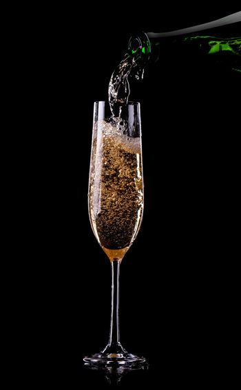 Golden champagne in glass